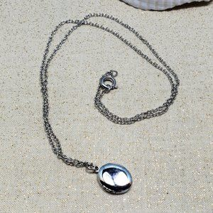 Vintage small locket oval necklace silver
